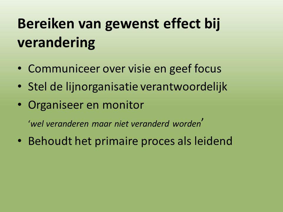 Bereiken van gewenst effect bij verandering Communiceer over visie en geef focus Stel de lijnorganisatie verantwoordelijk Organiseer en monitor 'wel v