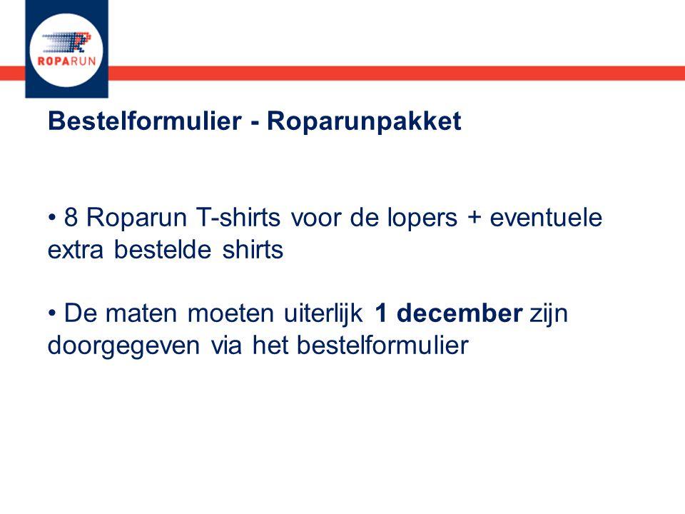 Bestelformulier - Roparunpakket 8 Roparun T-shirts voor de lopers + eventuele extra bestelde shirts De maten moeten uiterlijk 1 december zijn doorgegeven via het bestelformulier