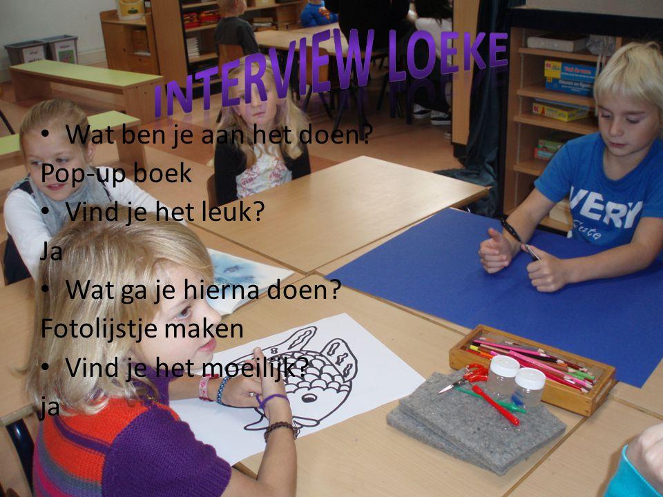 Wat ben je aan het doen? Pop-up boek Vind je het leuk? Ja Wat ga je hierna doen? Fotolijstje maken Vind je het moeilijk? ja