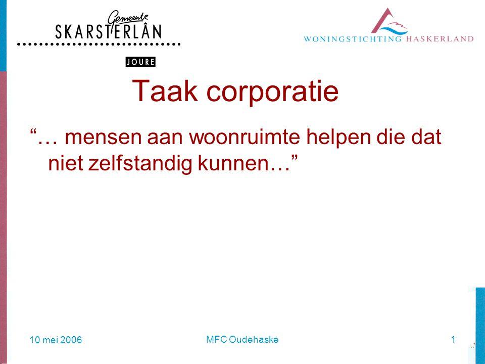 10 mei 2006 MFC Oudehaske1 Taak corporatie … mensen aan woonruimte helpen die dat niet zelfstandig kunnen…