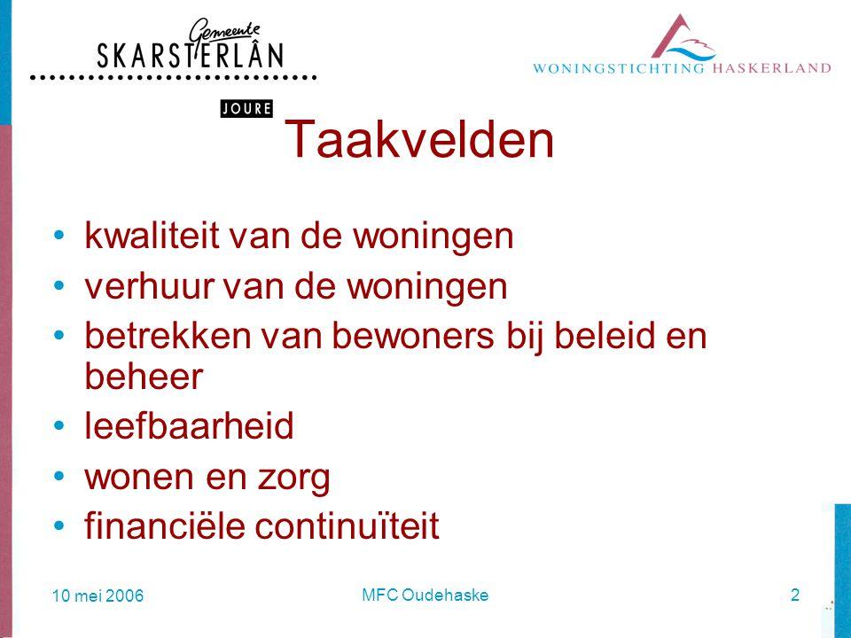 10 mei 2006 MFC Oudehaske2 Taakvelden kwaliteit van de woningen verhuur van de woningen betrekken van bewoners bij beleid en beheer leefbaarheid wonen en zorg financiële continuïteit