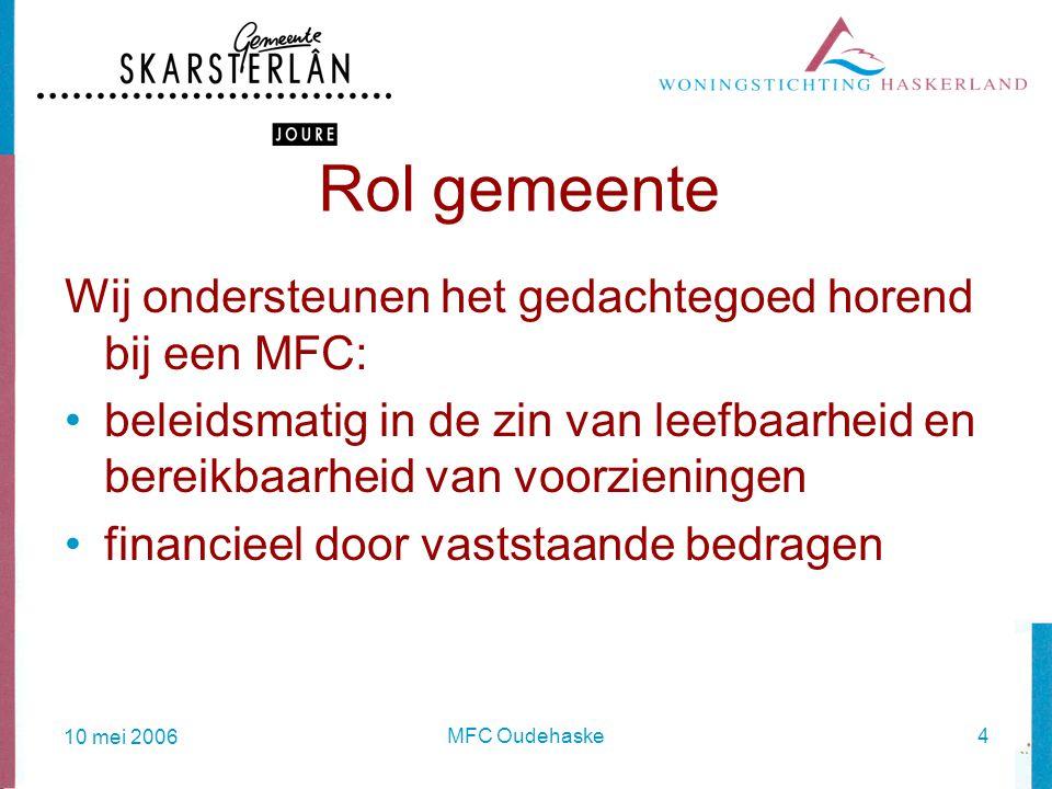10 mei 2006 MFC Oudehaske4 Rol gemeente Wij ondersteunen het gedachtegoed horend bij een MFC: beleidsmatig in de zin van leefbaarheid en bereikbaarheid van voorzieningen financieel door vaststaande bedragen