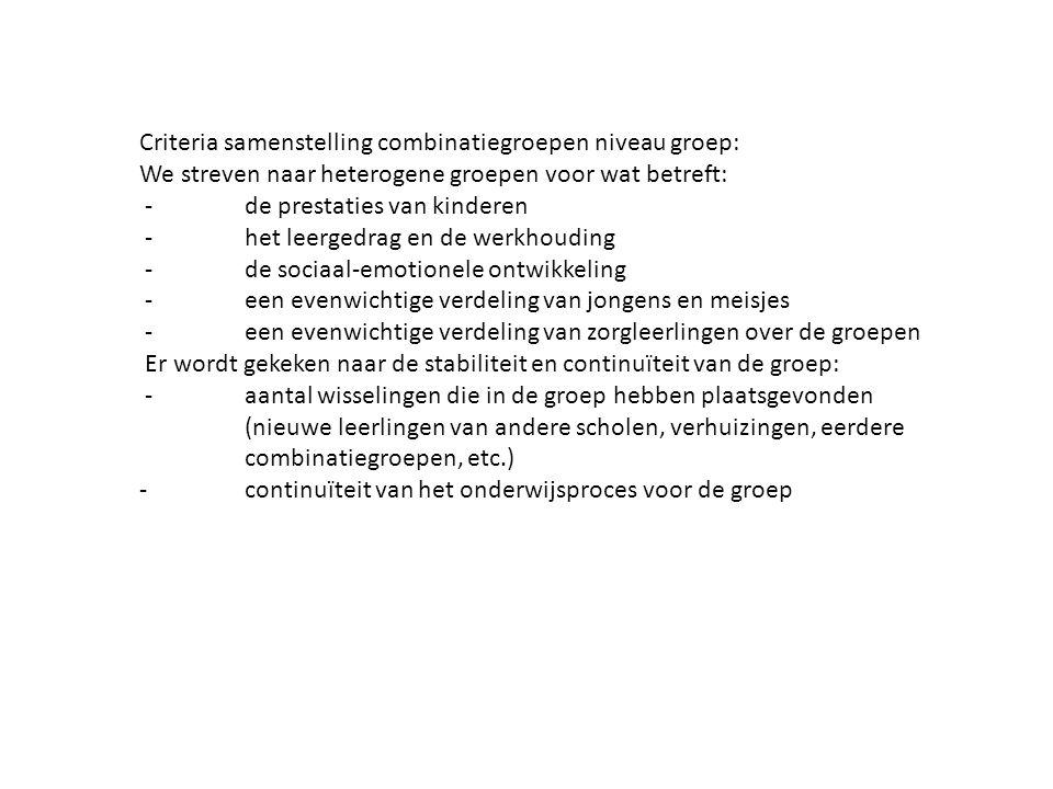 Criteria samenstelling combinatiegroepen niveau groep: We streven naar heterogene groepen voor wat betreft: -de prestaties van kinderen -het leergedrag en de werkhouding -de sociaal-emotionele ontwikkeling -een evenwichtige verdeling van jongens en meisjes -een evenwichtige verdeling van zorgleerlingen over de groepen Er wordt gekeken naar de stabiliteit en continuïteit van de groep: -aantal wisselingen die in de groep hebben plaatsgevonden (nieuwe leerlingen van andere scholen, verhuizingen, eerdere combinatiegroepen, etc.) - continuïteit van het onderwijsproces voor de groep
