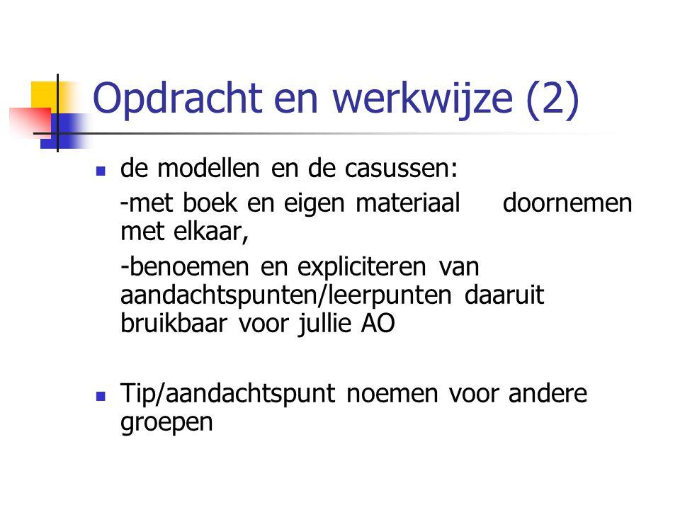 Opdracht en werkwijze (2) de modellen en de casussen: -met boek en eigen materiaal doornemen met elkaar, -benoemen en expliciteren van aandachtspunten/leerpunten daaruit bruikbaar voor jullie AO Tip/aandachtspunt noemen voor andere groepen
