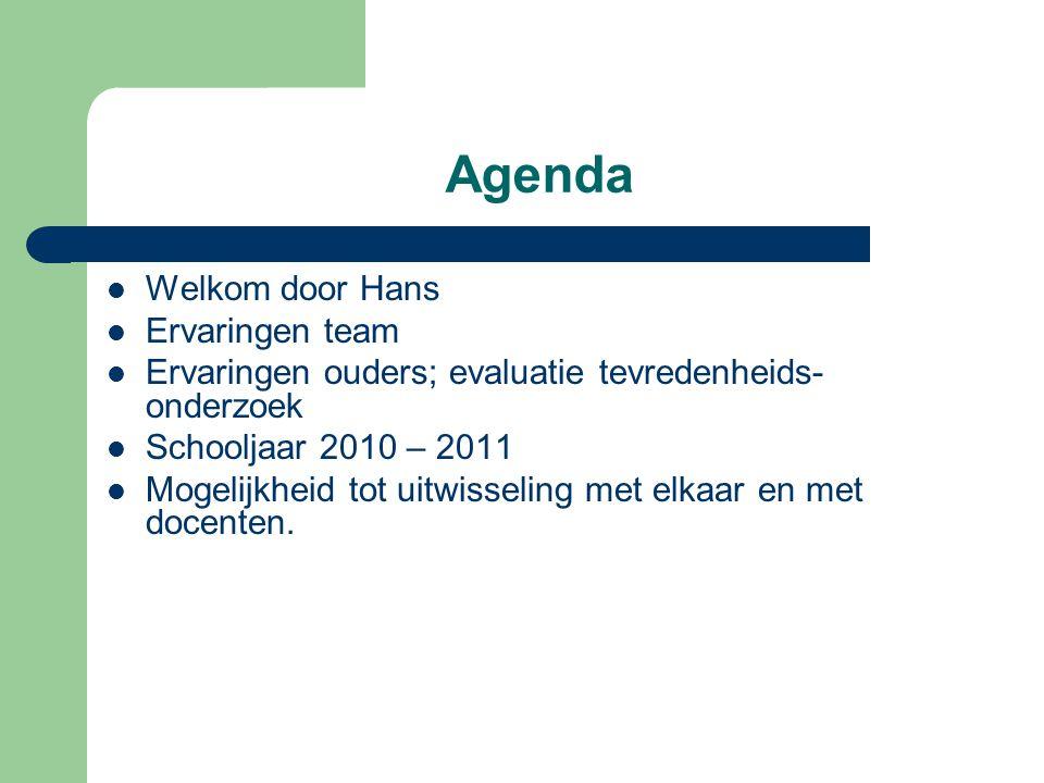 Agenda Welkom door Hans Ervaringen team Ervaringen ouders; evaluatie tevredenheids- onderzoek Schooljaar 2010 – 2011 Mogelijkheid tot uitwisseling met