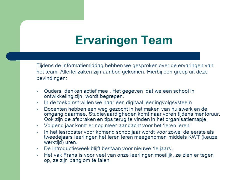 Tijdens de informatiemiddag hebben we gesproken over de ervaringen van het team. Allerlei zaken zijn aanbod gekomen. Hierbij een greep uit deze bevind