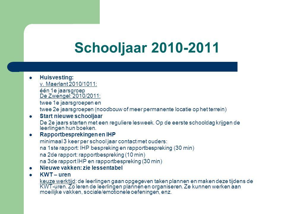 Schooljaar 2010-2011 Huisvesting: v. Maerlant 2010/1011: één 1e jaarsgroep De Zwengel: 2010/2011: twee 1e jaarsgroepen en twee 2e jaarsgroepen (noodbo