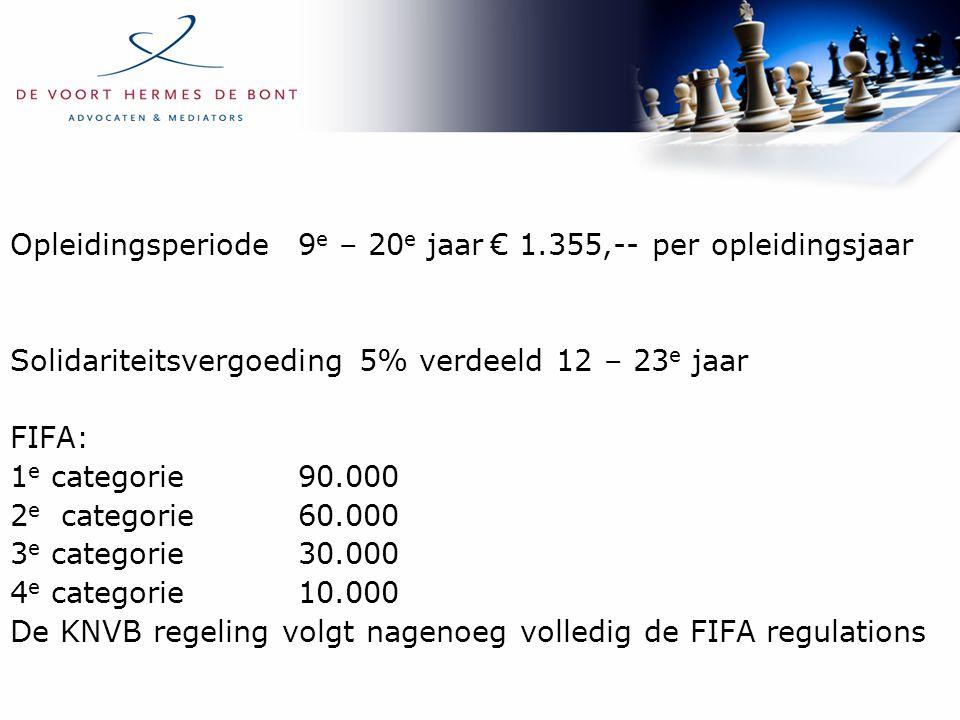 Opleidingsperiode9 e – 20 e jaar€ 1.355,-- per opleidingsjaar Solidariteitsvergoeding 5% verdeeld 12 – 23 e jaar FIFA: 1 e categorie90.000 2 e categor