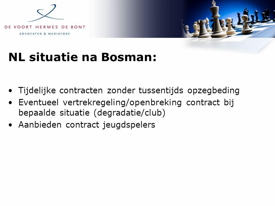 NL situatie na Bosman: Tijdelijke contracten zonder tussentijds opzegbeding Eventueel vertrekregeling/openbreking contract bij bepaalde situatie (degr