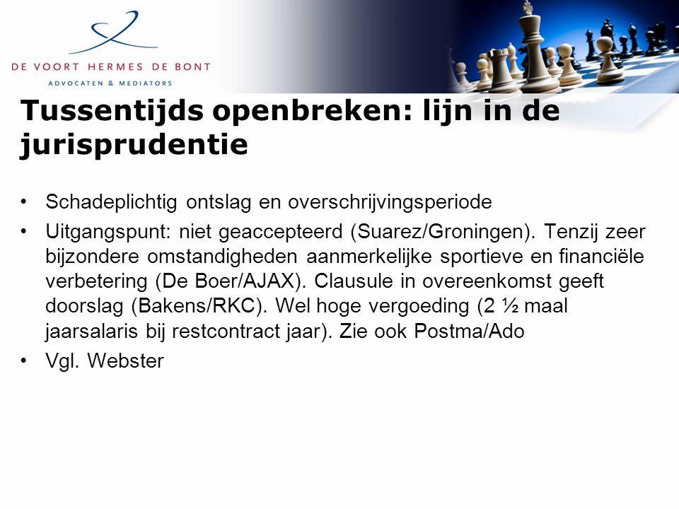 Tussentijds openbreken: lijn in de jurisprudentie Schadeplichtig ontslag en overschrijvingsperiode Uitgangspunt: niet geaccepteerd (Suarez/Groningen).