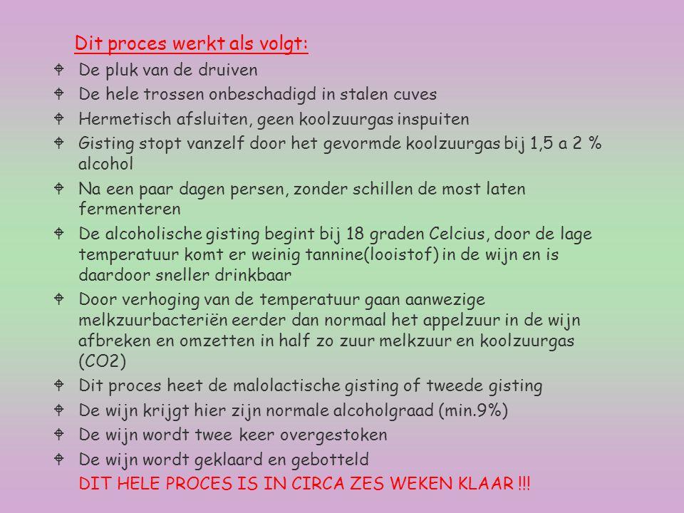 Dit proces werkt als volgt: WDe pluk van de druiven WDe hele trossen onbeschadigd in stalen cuves WHermetisch afsluiten, geen koolzuurgas inspuiten WG