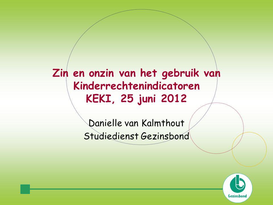 Zin en onzin van het gebruik van Kinderrechtenindicatoren KEKI, 25 juni 2012 Danielle van Kalmthout Studiedienst Gezinsbond