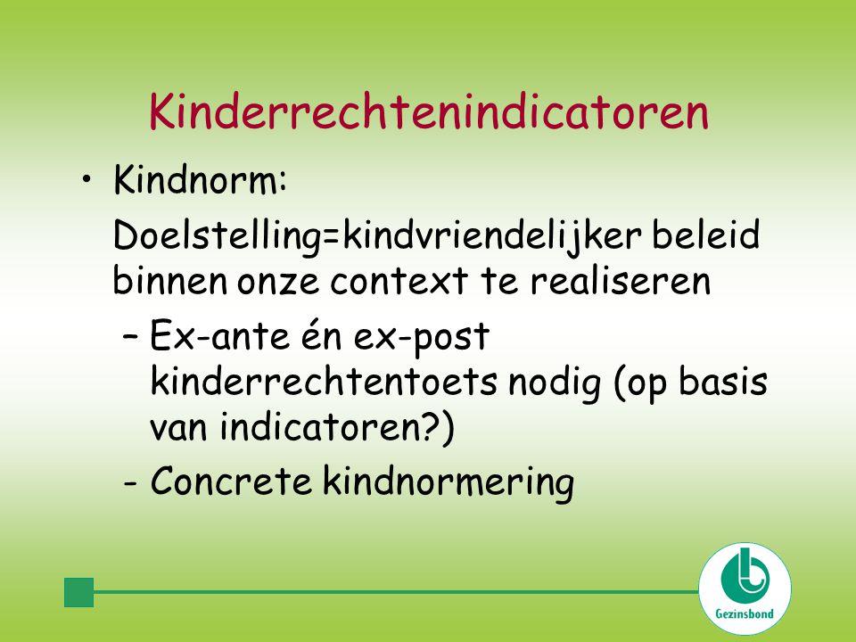 Kinderrechtenindicatoren Kindnorm: Doelstelling=kindvriendelijker beleid binnen onze context te realiseren –Ex-ante én ex-post kinderrechtentoets nodig (op basis van indicatoren ) - Concrete kindnormering
