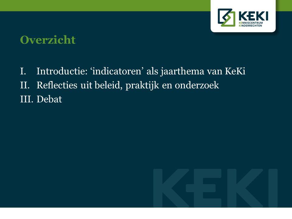 Overzicht I.Introductie: 'indicatoren' als jaarthema van KeKi II.Reflecties uit beleid, praktijk en onderzoek III.Debat