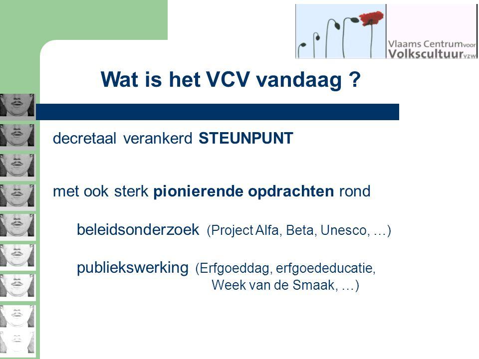 Wat is het VCV vandaag ? decretaal verankerd STEUNPUNT met ook sterk pionierende opdrachten rond beleidsonderzoek (Project Alfa, Beta, Unesco, …) publ