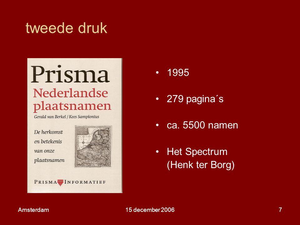 Amsterdam15 december 20068 voorbeeld lemma met bronvermelding Ammerzoden [uitspraak: amelroi, ammelroien, ammerooien, gem.: Maasdriel, Gl] 1026-1044 falsum 12e eeuw de Ambersoi Lex 66, 1196 Ambershoye TW 54, 1205-1233 Ambersoye TW 54, 14e eeuw Amersoyen Nk5 235, 1481 Amelroyen, rooy NGN3 18, 1618 Ammersoyde NGN9 20; een samenstelling van een waternaam Amer < *Ambarô-, verwant met *ambra- nevel, water, rivier , met ooi aan water gelegen stuk land' TW 54, Lex 66, MVN37 63v.