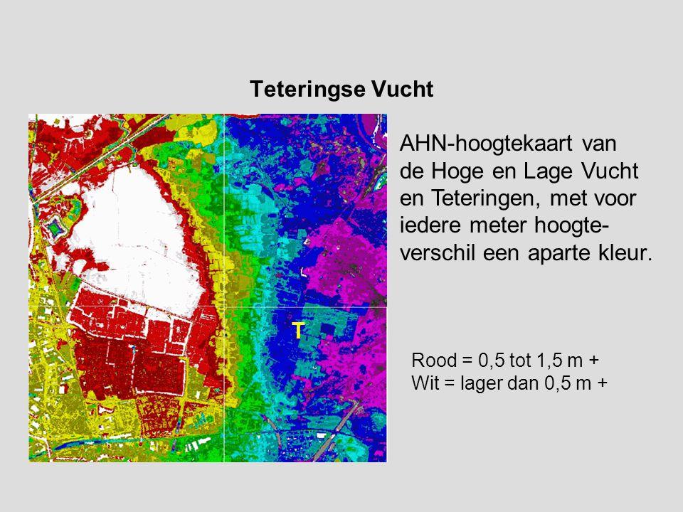 Teteringse Vucht AHN-hoogtekaart van de Hoge en Lage Vucht en Teteringen, met voor iedere meter hoogte- verschil een aparte kleur.