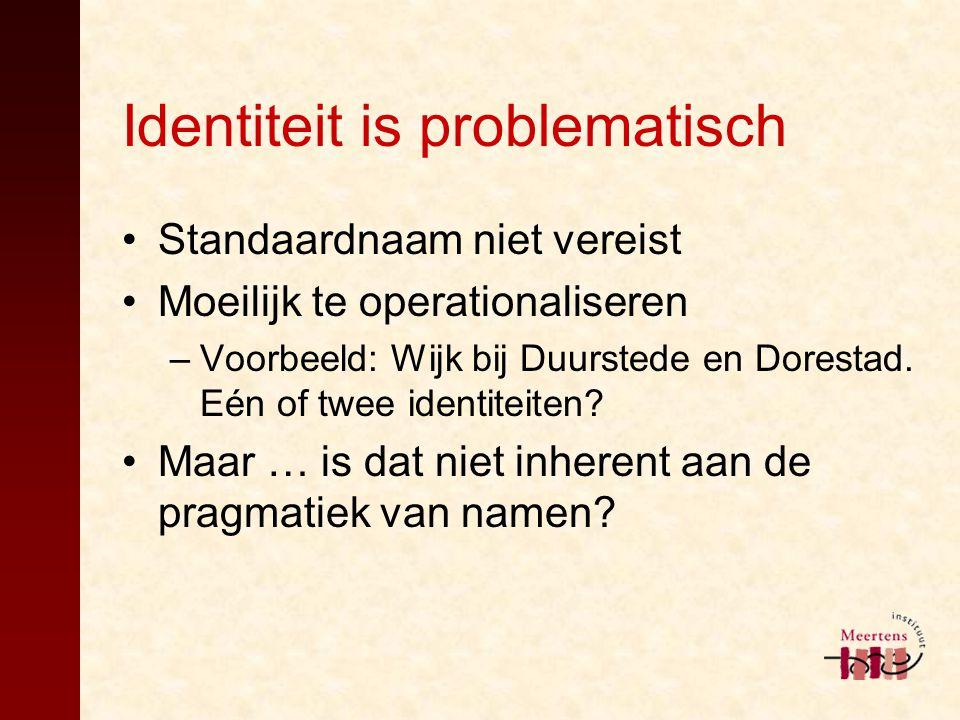 Identiteit is problematisch Standaardnaam niet vereist Moeilijk te operationaliseren –Voorbeeld: Wijk bij Duurstede en Dorestad. Eén of twee identitei