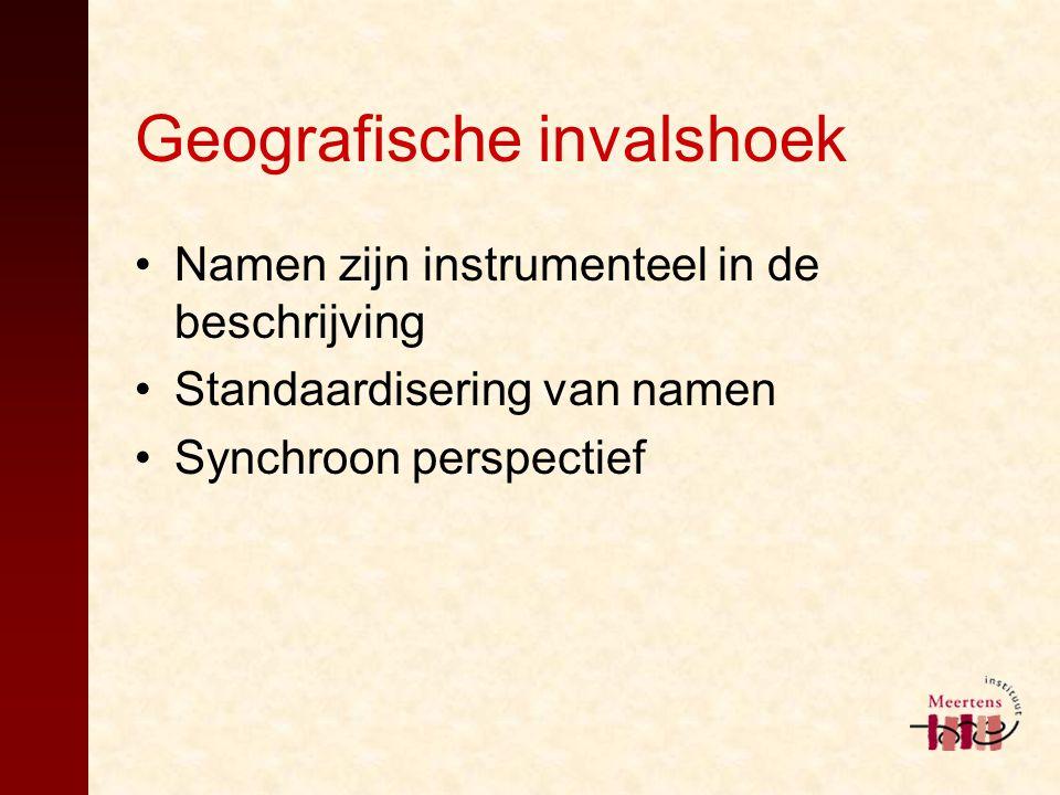Geografische invalshoek Namen zijn instrumenteel in de beschrijving Standaardisering van namen Synchroon perspectief