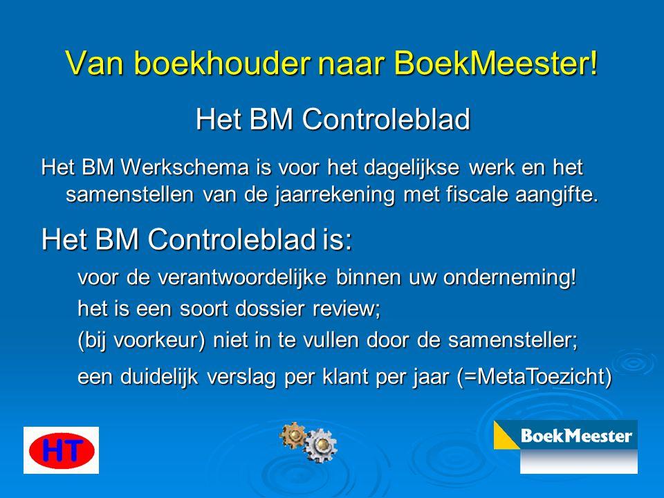 Van boekhouder naar BoekMeester! Het BM Controleblad Het BM Werkschema is voor het dagelijkse werk en het samenstellen van de jaarrekening met fiscale
