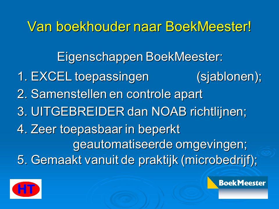 Van boekhouder naar BoekMeester! Eigenschappen BoekMeester: 1. EXCEL toepassingen (sjablonen); 2. Samenstellen en controle apart 3. UITGEBREIDER dan N