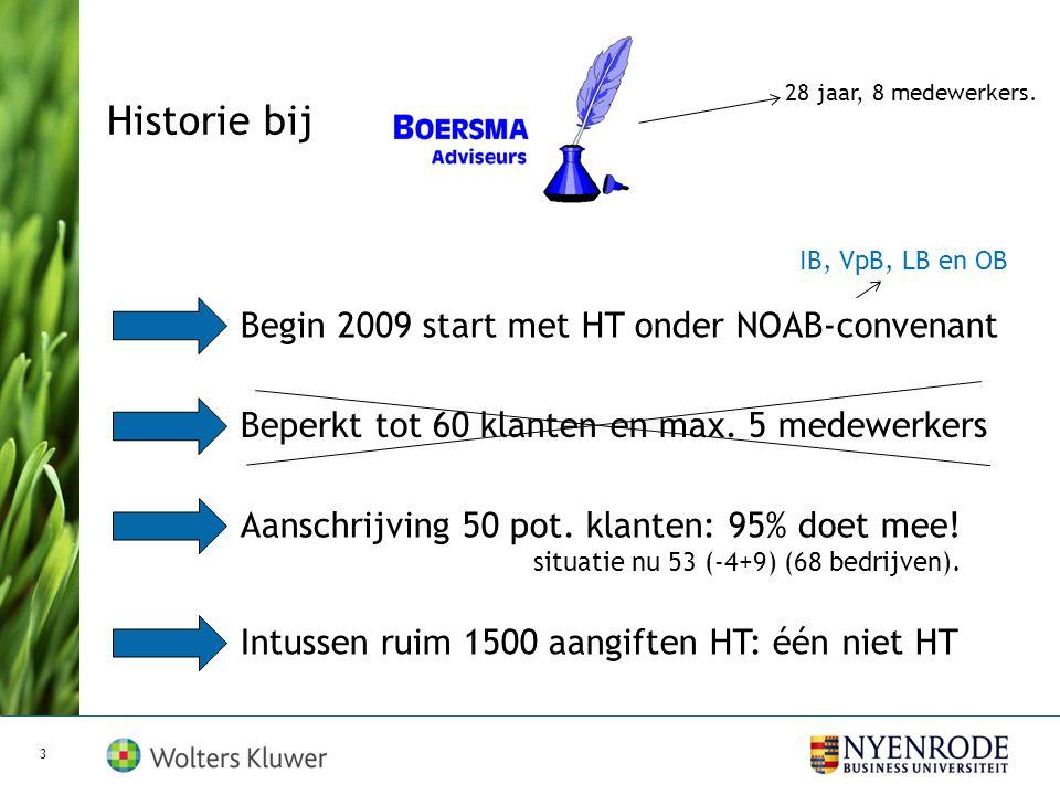 Historie bij Begin 2009 start met HT onder NOAB-convenant Beperkt tot 60 klanten en max.