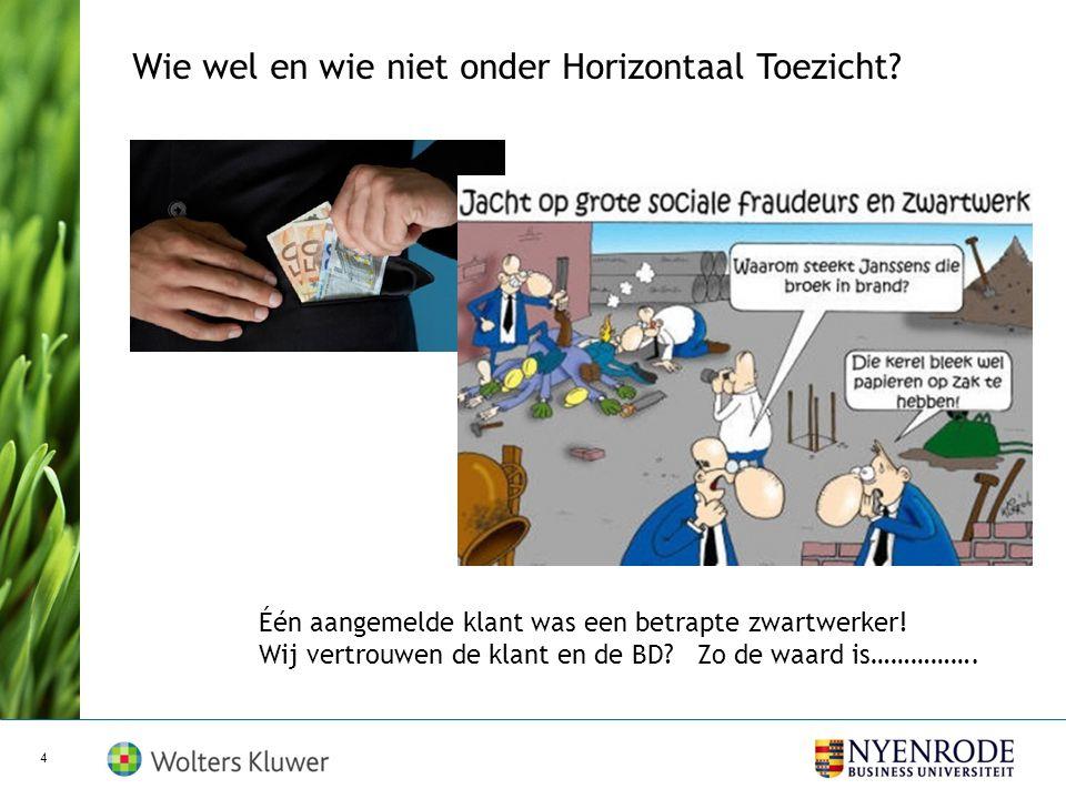 Voorlopige conclusie november 2011 Horizontaal Toezicht is geen gelopen race: vooral in het microbedrijf.