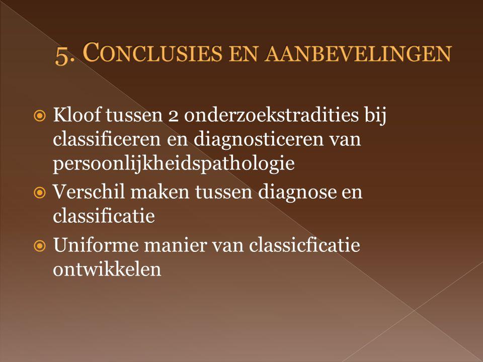  Kloof tussen 2 onderzoekstradities bij classificeren en diagnosticeren van persoonlijkheidspathologie  Verschil maken tussen diagnose en classificatie  Uniforme manier van classicficatie ontwikkelen