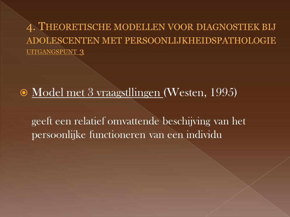  Model met 3 vraagstllingen (Westen, 1995) geeft een relatief omvattende beschijving van het persoonlijke functioneren van een individu