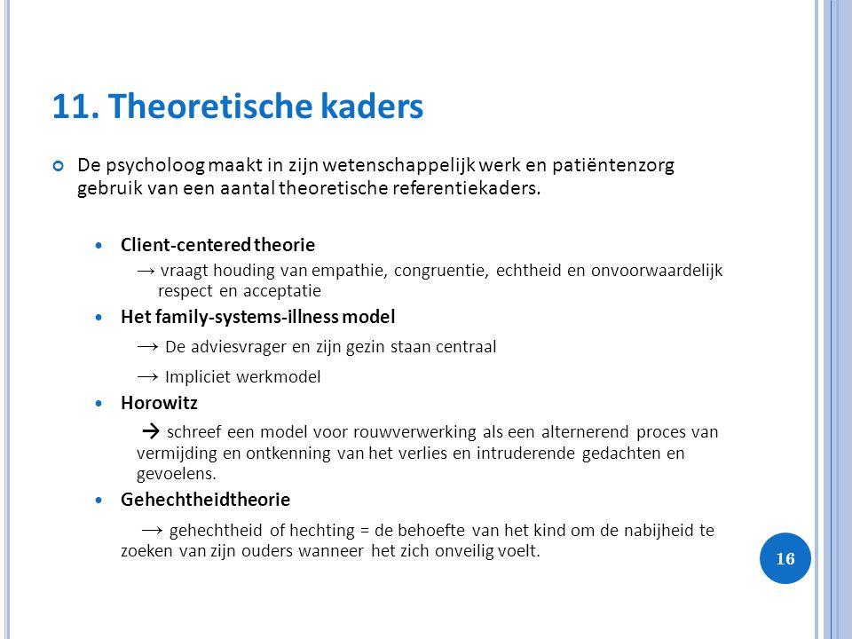 16 11. Theoretische kaders De psycholoog maakt in zijn wetenschappelijk werk en patiëntenzorg gebruik van een aantal theoretische referentiekaders. Cl