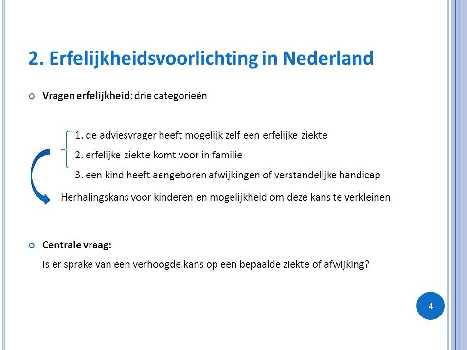 4 2. Erfelijkheidsvoorlichting in Nederland Vragen erfelijkheid: drie categorieën 1. de adviesvrager heeft mogelijk zelf een erfelijke ziekte 2. erfel