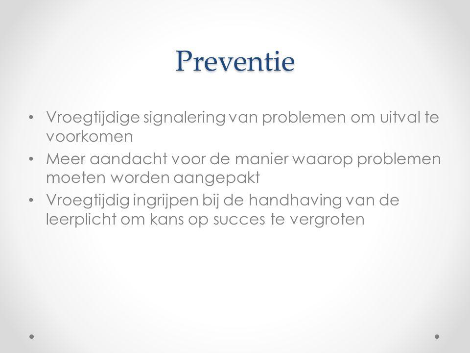 Preventie Vroegtijdige signalering van problemen om uitval te voorkomen Meer aandacht voor de manier waarop problemen moeten worden aangepakt Vroegtij