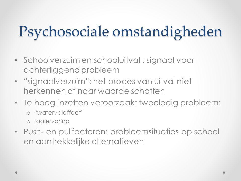 """Psychosociale omstandigheden Schoolverzuim en schooluitval : signaal voor achterliggend probleem """"signaalverzuim"""": het proces van uitval niet herkenne"""