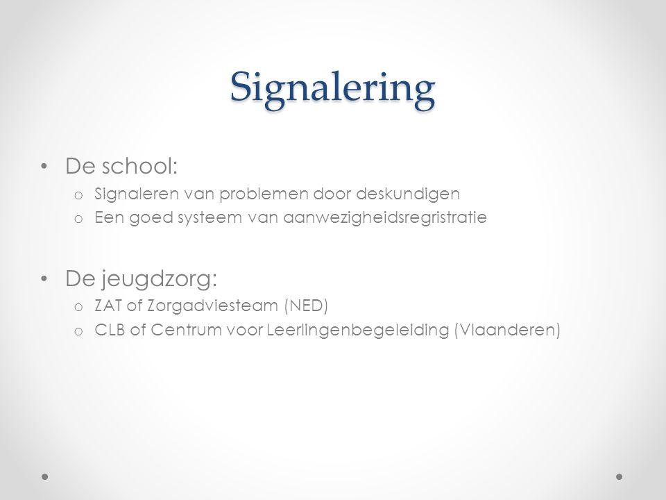 Signalering De school: o Signaleren van problemen door deskundigen o Een goed systeem van aanwezigheidsregristratie De jeugdzorg: o ZAT of Zorgadviest