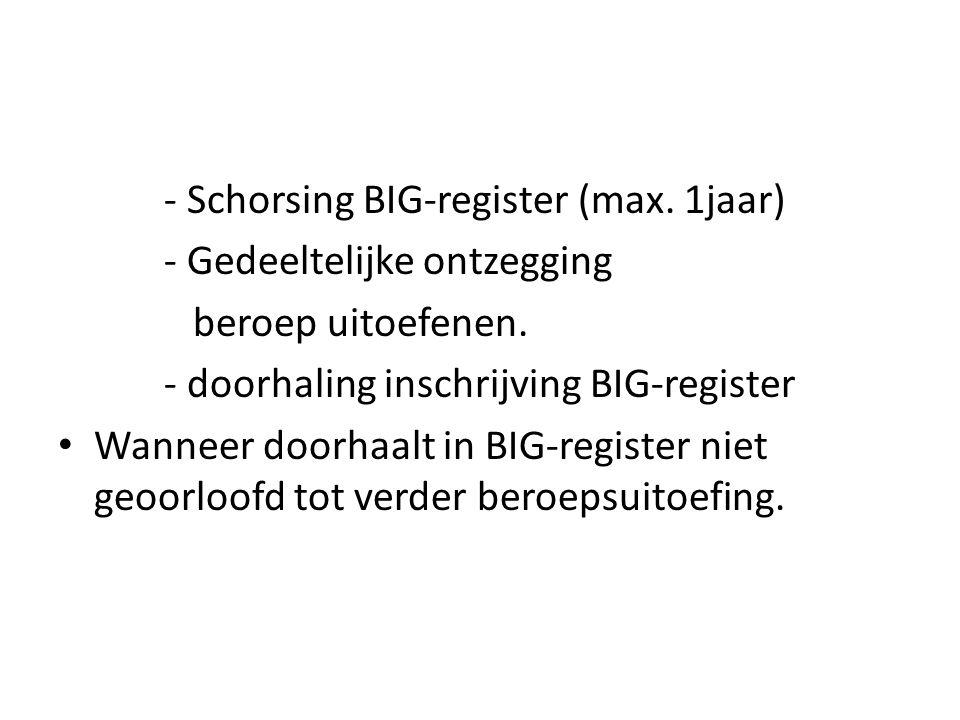 - Schorsing BIG-register (max. 1jaar) - Gedeeltelijke ontzegging beroep uitoefenen. - doorhaling inschrijving BIG-register Wanneer doorhaalt in BIG-re