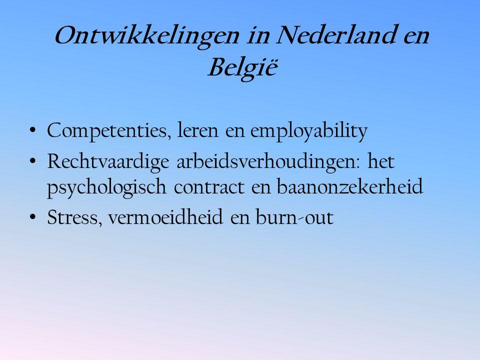 Ontwikkelingen in Nederland en België Competenties, leren en employability Rechtvaardige arbeidsverhoudingen: het psychologisch contract en baanonzekerheid Stress, vermoeidheid en burn-out