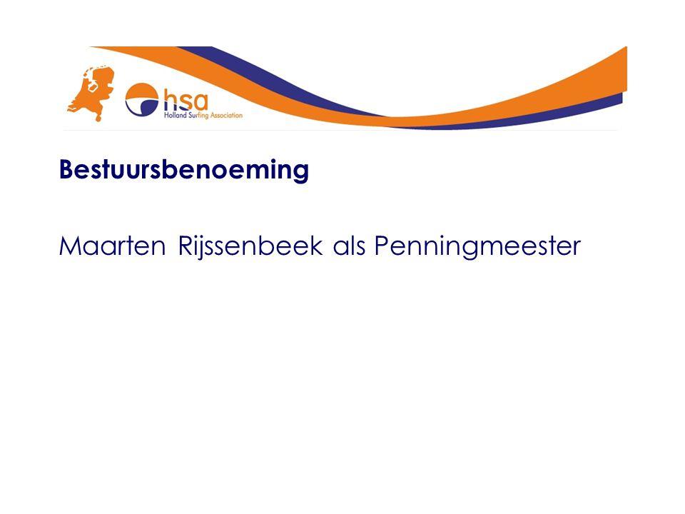 Bestuursbenoeming Maarten Rijssenbeek als Penningmeester