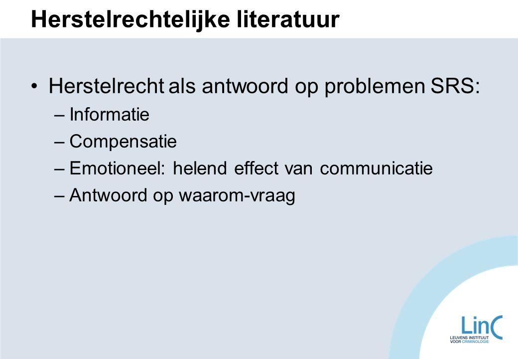 Herstelrechtelijke literatuur Herstelrecht als antwoord op problemen SRS: –Informatie –Compensatie –Emotioneel: helend effect van communicatie –Antwoord op waarom-vraag