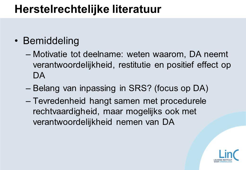 Herstelrechtelijke literatuur Bemiddeling –Motivatie tot deelname: weten waarom, DA neemt verantwoordelijkheid, restitutie en positief effect op DA –Belang van inpassing in SRS.