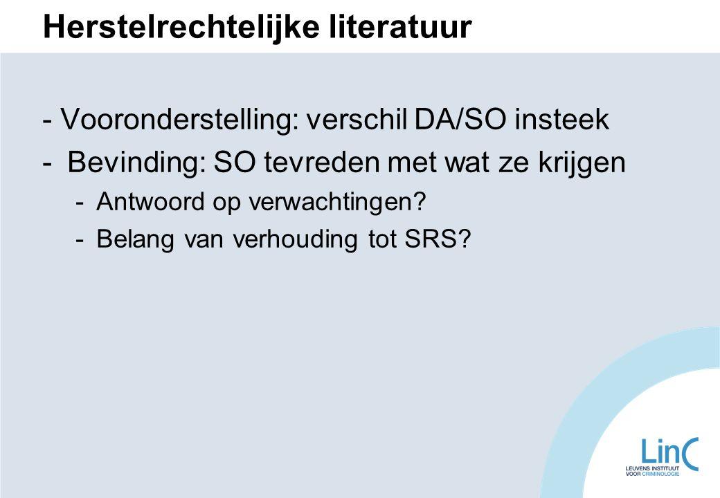 Herstelrechtelijke literatuur - Vooronderstelling: verschil DA/SO insteek -Bevinding: SO tevreden met wat ze krijgen -Antwoord op verwachtingen.