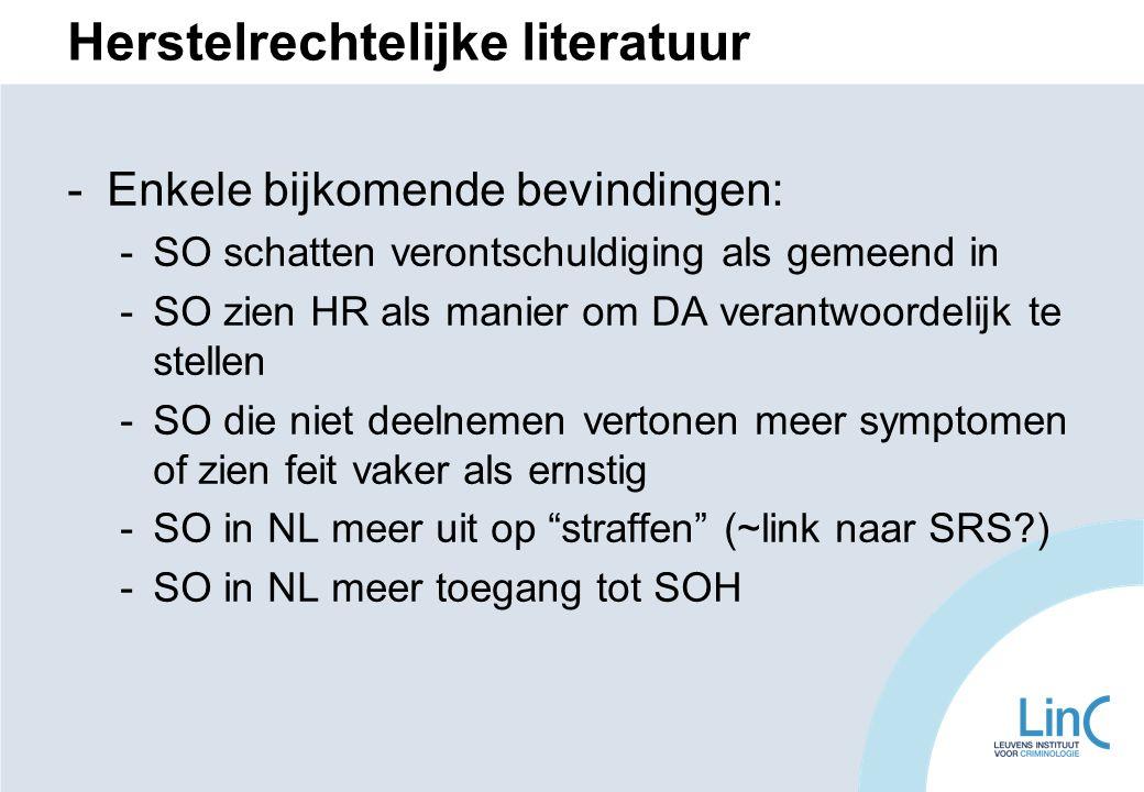 Herstelrechtelijke literatuur -Enkele bijkomende bevindingen: -SO schatten verontschuldiging als gemeend in -SO zien HR als manier om DA verantwoordelijk te stellen -SO die niet deelnemen vertonen meer symptomen of zien feit vaker als ernstig -SO in NL meer uit op straffen (~link naar SRS?) -SO in NL meer toegang tot SOH