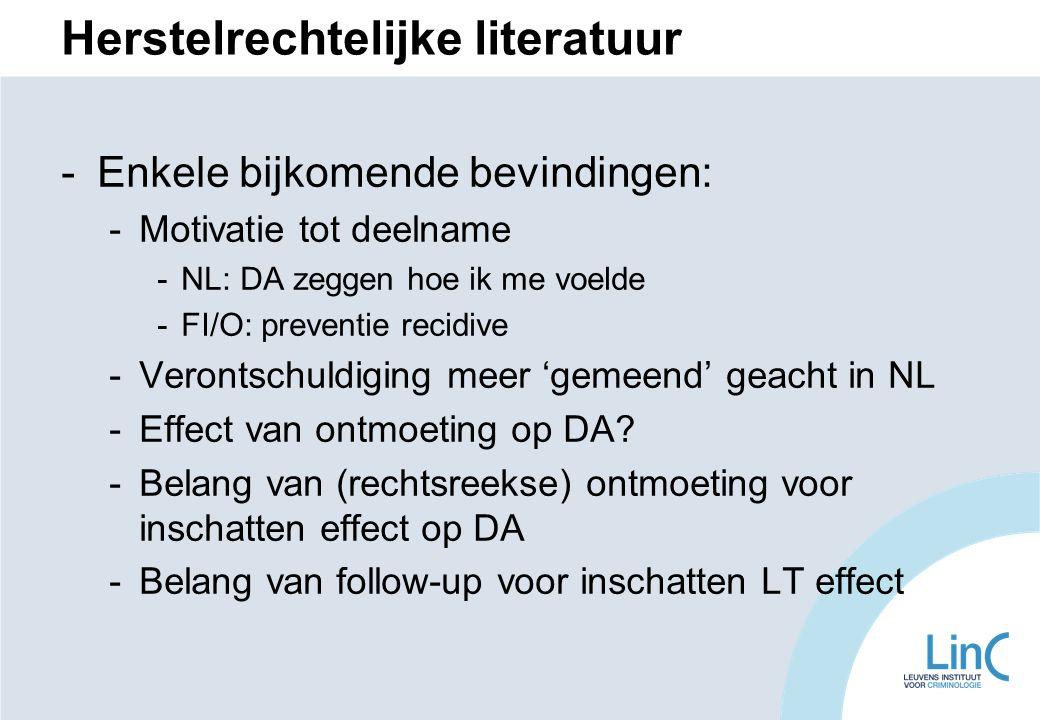 Herstelrechtelijke literatuur -Enkele bijkomende bevindingen: -Motivatie tot deelname -NL: DA zeggen hoe ik me voelde -FI/O: preventie recidive -Verontschuldiging meer 'gemeend' geacht in NL -Effect van ontmoeting op DA.