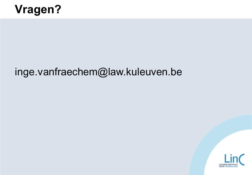 Vragen? inge.vanfraechem@law.kuleuven.be