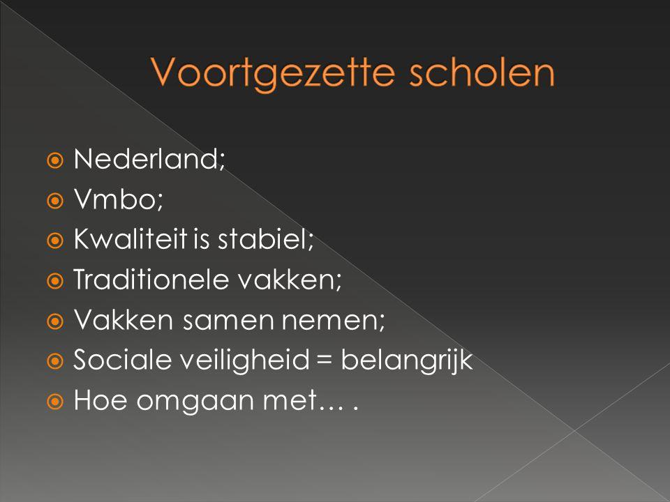  Nederland;  Vmbo;  Kwaliteit is stabiel;  Traditionele vakken;  Vakken samen nemen;  Sociale veiligheid = belangrijk  Hoe omgaan met….