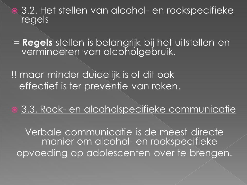  3.2. Het stellen van alcohol- en rookspecifieke regels = Regels stellen is belangrijk bij het uitstellen en verminderen van alcoholgebruik. !! maar