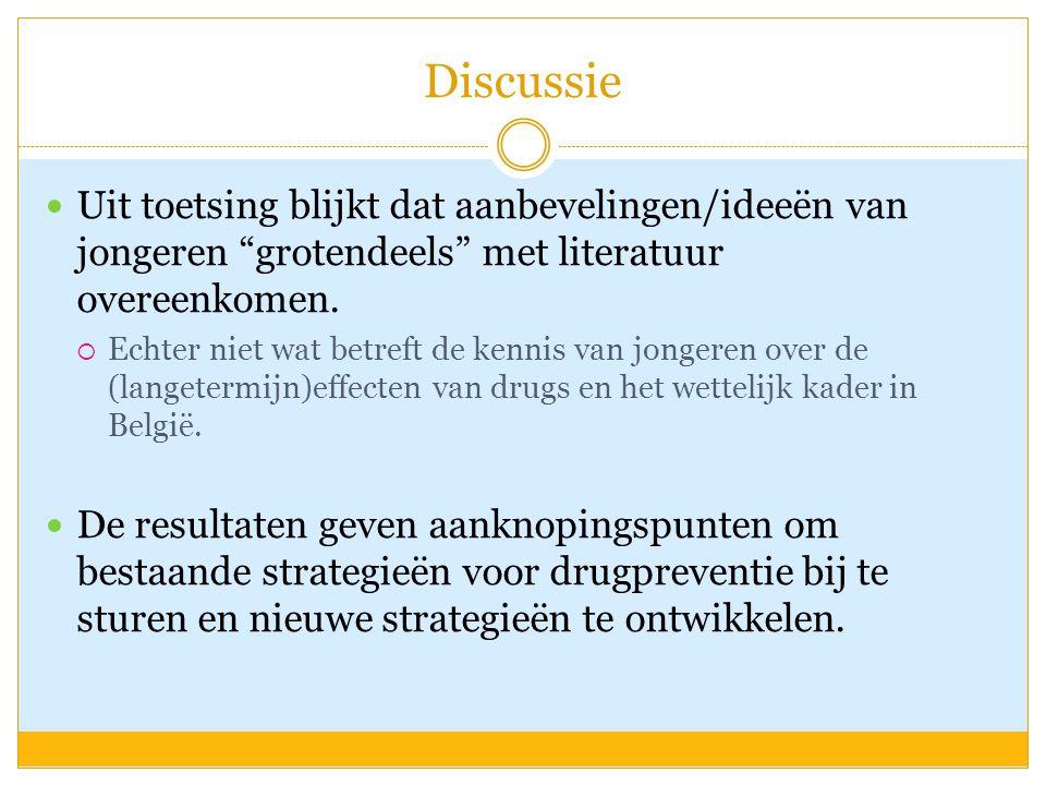"""Discussie Uit toetsing blijkt dat aanbevelingen/ideeën van jongeren """"grotendeels"""" met literatuur overeenkomen.  Echter niet wat betreft de kennis van"""