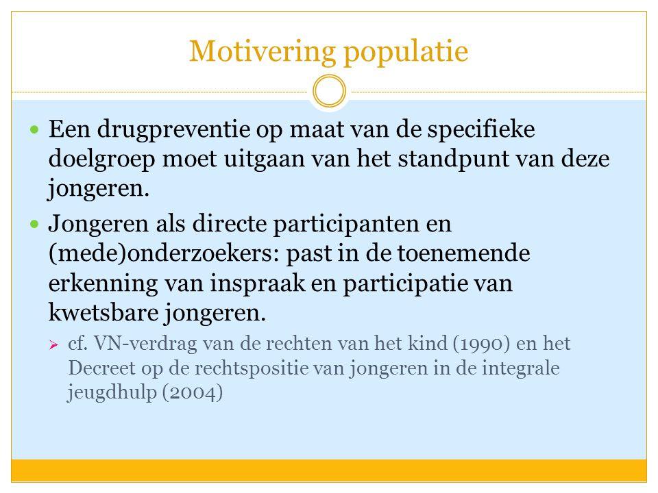 Motivering populatie Een drugpreventie op maat van de specifieke doelgroep moet uitgaan van het standpunt van deze jongeren. Jongeren als directe part