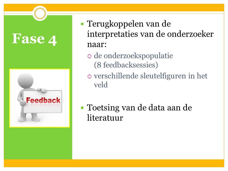 Fase 4 Terugkoppelen van de interpretaties van de onderzoeker naar:  de onderzoekspopulatie (8 feedbacksessies)  verschillende sleutelfiguren in het veld Toetsing van de data aan de literatuur