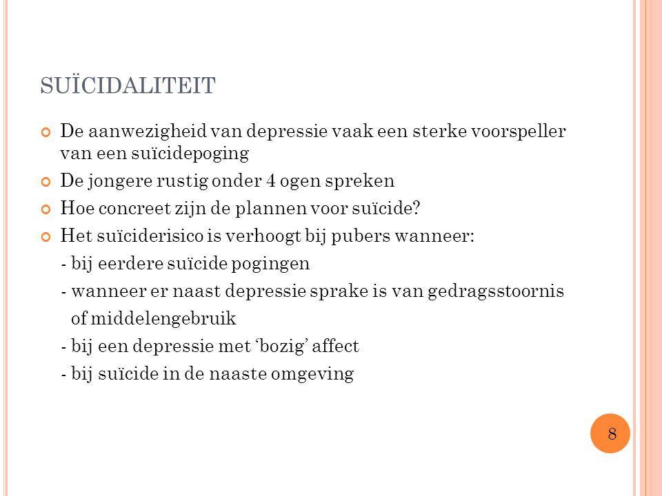 SUÏCIDALITEIT De aanwezigheid van depressie vaak een sterke voorspeller van een suïcidepoging De jongere rustig onder 4 ogen spreken Hoe concreet zijn