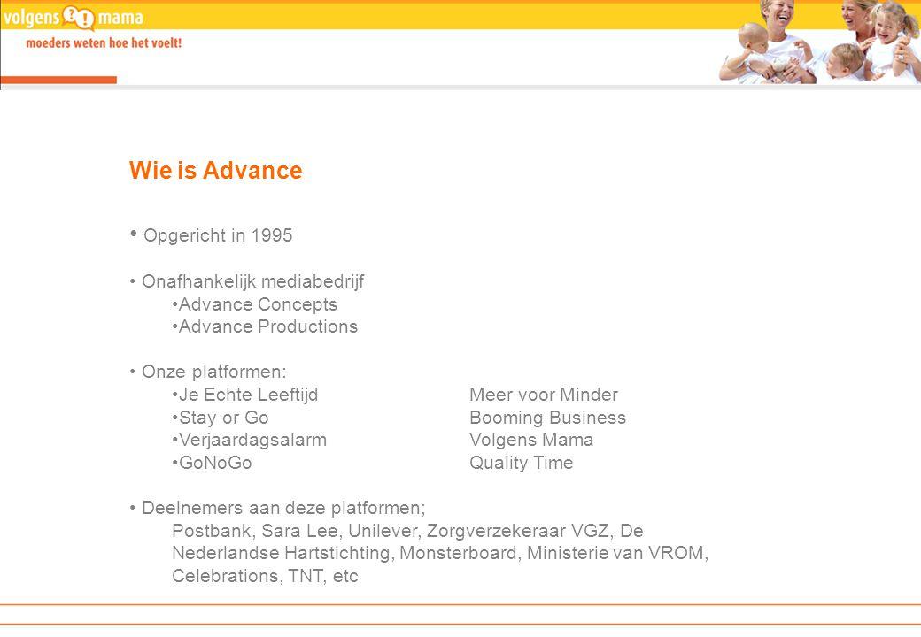 Advance heeft … …in 2007 een interactieve relatie met 2,5 miljoen mensen, vanuit verschillende invalshoeken.